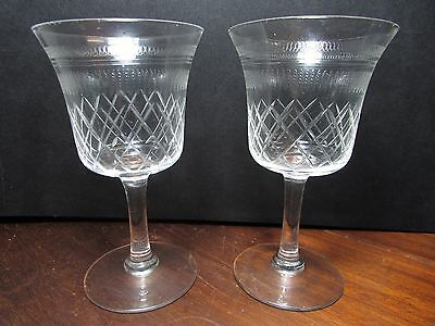 Pair Victorian Etched Cut Glass Stem Wine Glasses