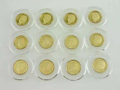 (12) 2006 .999 Pure Silver Ronald Reagan Gold Plated Dime Proof Coin ~4416~