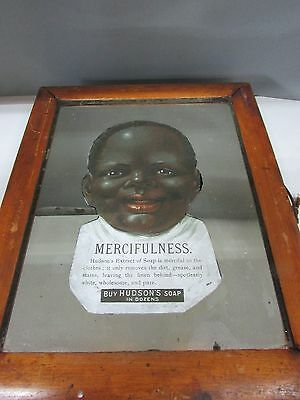 Antique Hudsons Soap Black African Americana Store Advertising Picture Mirror