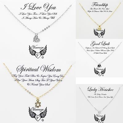 Vincenza Gold Silver plated Inspirational Message Card Necklace Jewellery UK