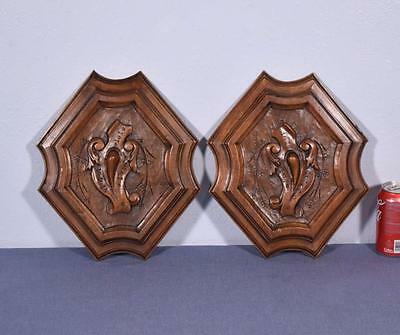 Pair of French Antique Carved Medallions/Panels in Walnut Wood