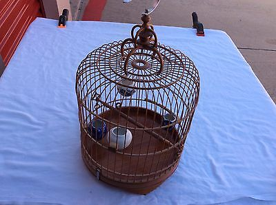 Vintage Carved Chinese Bamboo Bird Cage 4 Porcelain Bowls Carvings Perch