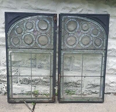1800s Antique Heart Rectangle Steel Frame Leaded/Stained Glass Window Pair RARE