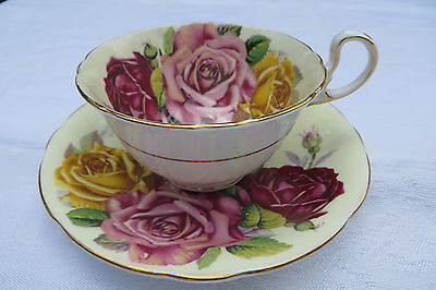 Aynsley  Tea Cup And Saucer With Large Roses,, Beautiful