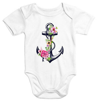Baby Body Blumen Anker Flower Anchor Watercolor kurzarm Bio-Baumwolle Onesie