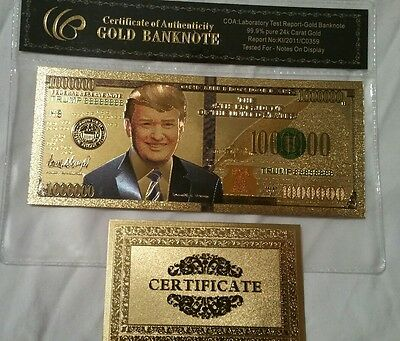 45th President Donald Trump bill 24k gold Plated Bank Money 45th Commemorative