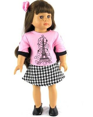 "Paris Shirt and Skirt Outfit 18"" Doll Clothes fits American Girl dolls"