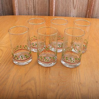 6 Arby's Libbey Holly & Berries Tumblers Glasses Gold Rim Christmas Holiday VTG