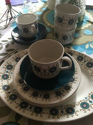 Tea Cups And Saucers X4 Plus X4 Side Plates And Cake/sandwich Platter Retro