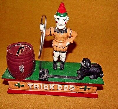 "OLDER REPLICA CAST IRON MECHANICAL BANK-DOG TRICK- WORKS-APPROX 8"" x 8# x 2 1/2"""