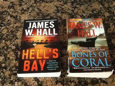 James Hall Lot Of 2 Paperbacks Hell's Bay And Bones Of Coral