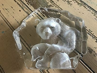 Mats Jonasson Swedish Art Glass Bear Paperweight Clear Frosted Signed