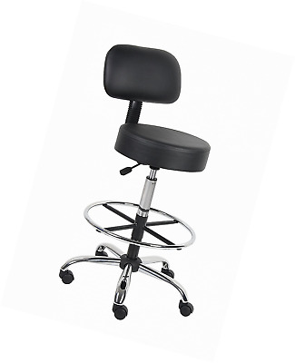 Boss Office Products B16245-BK Be Well Medical Spa Drafting Stool with Back,  Bl