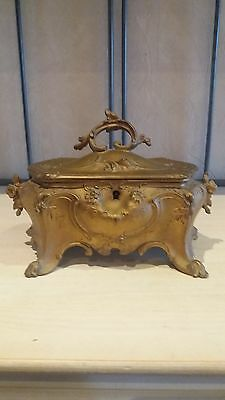 ONE DAY ONLYFrench Louis XV Trinket Box Gilt Spelter Original Upholstery Antique