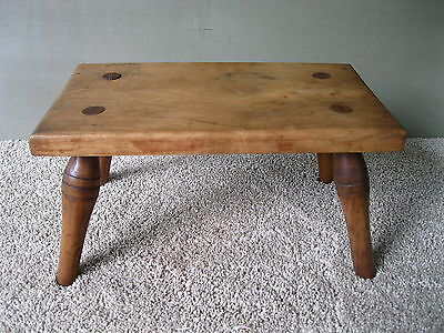Antique Stool Foot Bench Vintage Primitive Footstool, Four Legs, Mortised