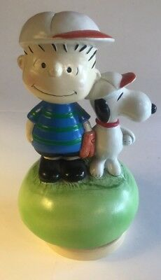 VINTAGE 1960's SCHMID BROS. CHARLIE  BROWN AND SNOOPY BASEBALL MUSIC BOX