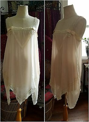 Blush Pink 1920s pure silk and lace flapper camisole negligee slip dress vintage