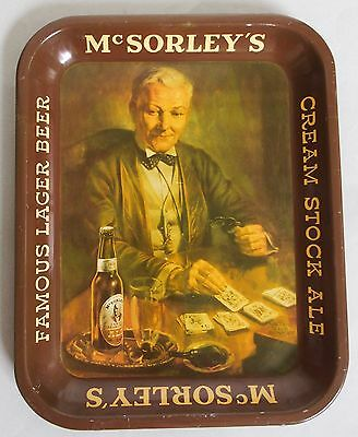Very Nice Mcsorley's Cream Stock Ale Tin Advertising Serving Tray Near Mint