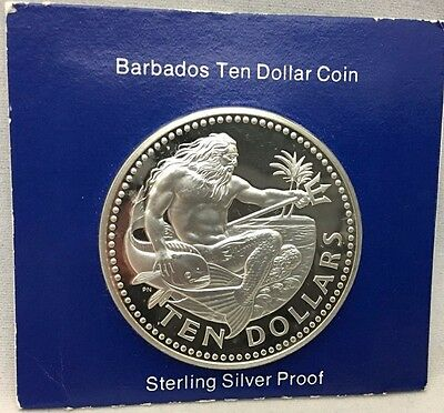1975 Barbados Ten Dollar Sterling Silver Proof Coin