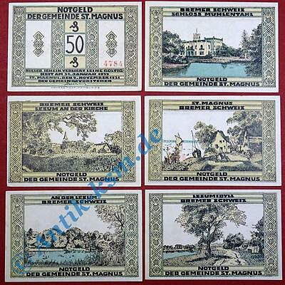 6 x Notgeld St. Magnus , weiß , german emergency money , M/G 1166.1 ,  kfr./unc