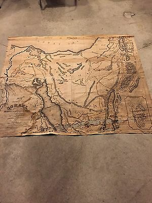 ANTIQUE 1860s LINEN MAP OF ISRAEL JEWISH HISTORY AMERICAN SUNDAY SCHOOL UNION
