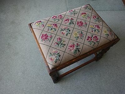 Antique hand embroidered footstool