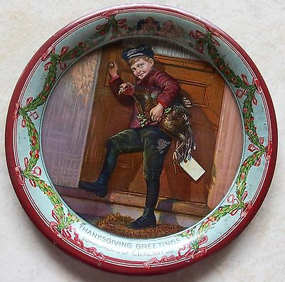 Near Mint C D Kenny Thanksgiving Advertising Tip Tray Boy Bringing Home Turkey