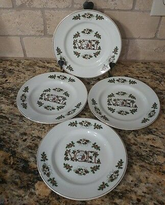 Set of 4 Plates Noel by Wood & Sons  Made in England Gold Rim Christmas