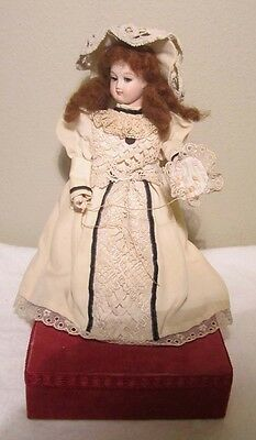 Antique French Bisque Automaton Seated Music Box Doll Sewing Plays Blue Danube