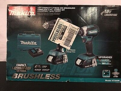 Makita - 18-Volt Compact Lithium-Ion Brushless Cordless Combo Kit - Model XT269R
