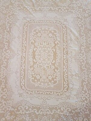 VTG Beautiful Floral Roses White LACE TABLECLOTH 64x 54