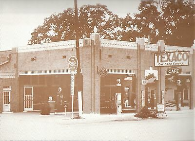 "Vintage 9"" X 12"" Sepia GAS STATION ""Texaco"""