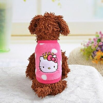 Puppy Vest for Small Dog Cat Coat Pet Costume Lovely Clothes keep warm PINK XXXS