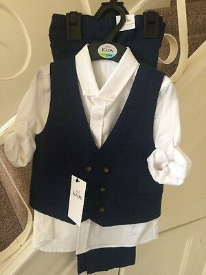 Boys 3 Piece Suit Age 3-4 Years - BNWT- RRP £36 - Navy Mix
