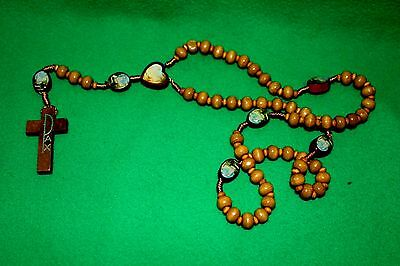 lady of fatima rosary made of  WOOD rosary aparitions