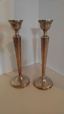 "PAIR OF STERLING SILVER CANDLESTICKS CANDLE HOLDERS 10"" Tall"