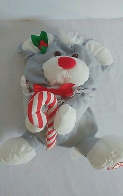"Vintage Fisher Price Gray Mouse Puffalump 12"" Plush Velcro Candy Cane Christmas"