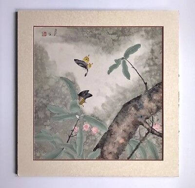 A Large Signed Original Chinese Watercolor Painting Of Butterflies