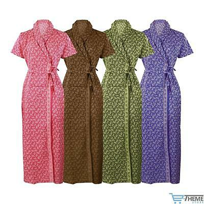 New Womens 100 Cotton Summer Dressing Gown Robe Ladies Bath Robe