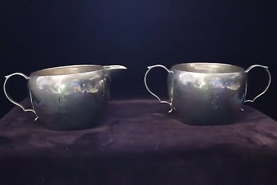ANTIQUE sterling cream and sugar bowls set