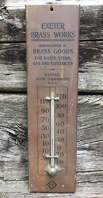 Rare Vintage EXETER New Hampshire BRASS WORKS Thermometer Wooden Sign