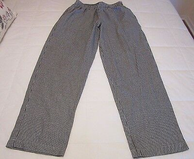 Chef Works Cook Pants Baggies Black White Check Elastic Waist Pockets Size Large