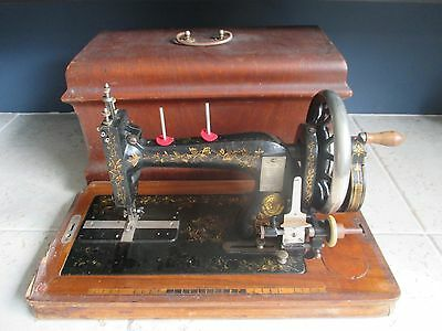 Antique Clemens Müller sewing machine early 1900's in wooden case
