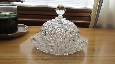 Beautiful Cut Glass Domed Butter Dish Lid And Dish American Brilliant
