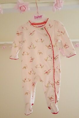 Baby Girls 🦄TED BAKER 🦄 Babygrow - sleepsuit 0-3 months- Pink Glittery Seals🦈
