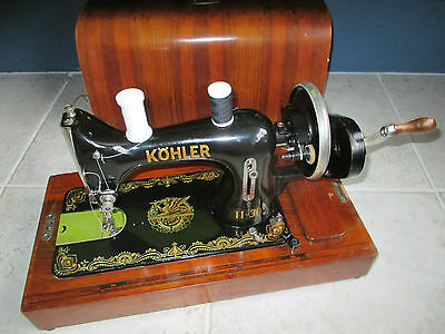 Beautiful 1930's Hand Crank Kohler 11-30 Sewing Machine Egyptian Style Decals