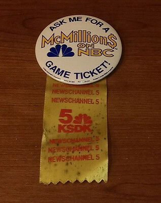 1990 Mcdonald's Mcmillions$ On Nbc Game Ticket News Channel 5 Ksdk Pin Button