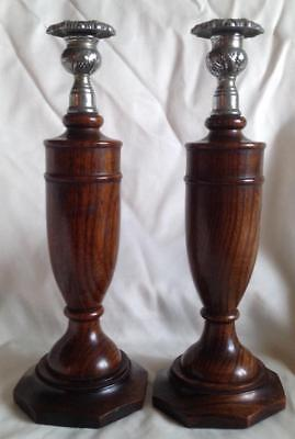 Large / tall turned elm wood candlesticks / holders with chrome sconces c.1930