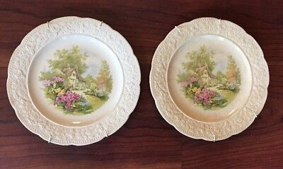 Vintage Edwin Knowles Luncheon Plates ~ Cremelace Cottage Scene ~ KNO436 ~ Pair