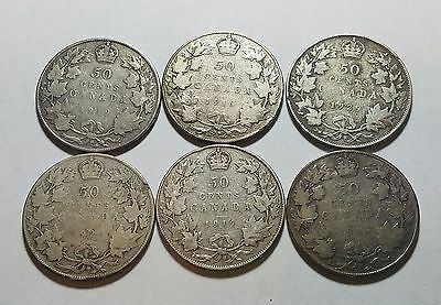 Lot of 6 Canada 50 Fifty Cents 1916 1917 1918 1919 1920 1929